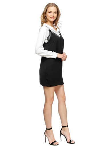 Endless Rose Gömlek Yaka Mini Elbise Siyah